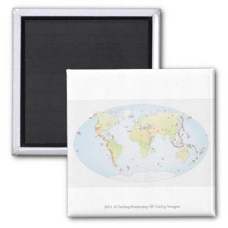 火山活動の場所を示す世界地図 マグネット