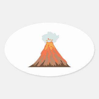 火山 楕円形シール