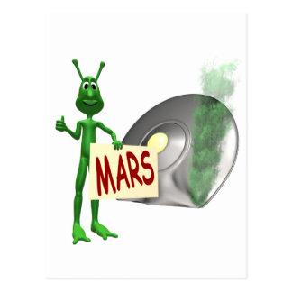 火星に乗車の家を繋ぐことを試みる火星人 ポストカード
