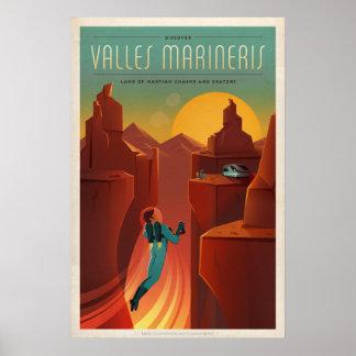 火星のValles Marinerisの観光事業 ポスター