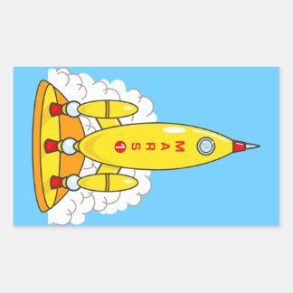 火星へのロケット 長方形シール