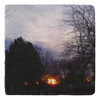 火球の日の出の大理石Trivet トリベット