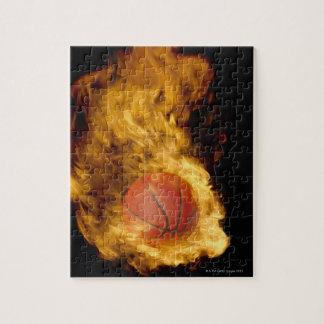 火(デジタル合成物)のバスケットボール ジグソーパズル