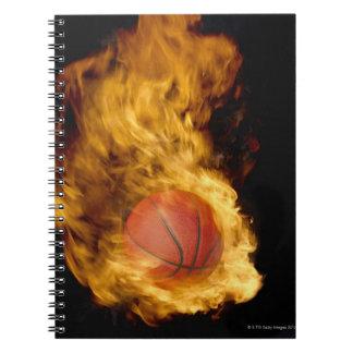火(デジタル合成物)のバスケットボール ノートブック