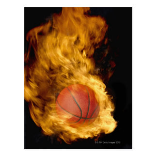 火(デジタル合成物)のバスケットボール ポストカード