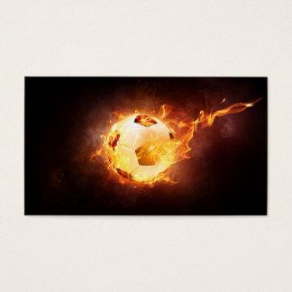 火、球、サッカーの下のフットボール 名刺
