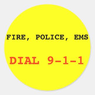 火、警察EMS 911のステッカー ラウンドシール