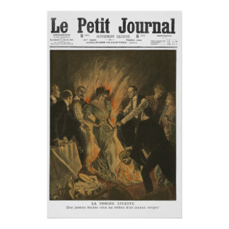 火- 1910人のフランス人新聞プリントの女性 ポスター