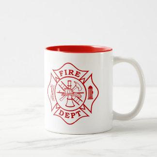 火Dept/消防士のマルタ十字のマグ ツートーンマグカップ