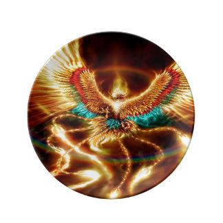 火Phenixを飛ばす魔法及び神秘的なファンタジー 磁器プレート