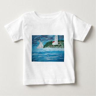 灯台およびボートのベビーのTシャツ ベビーTシャツ
