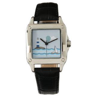 灯台およびヨットとの航海のな場面 腕時計
