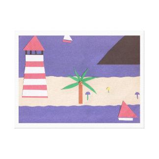 灯台およびヨット場面のキャンバスプリント キャンバスプリント