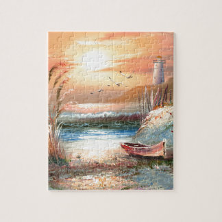 灯台の近くの浜に引き上げられたボートの絵画 ジグソーパズル