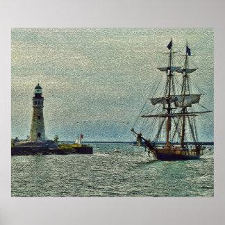 灯台ポスターかプリントを渡すこと ポスター