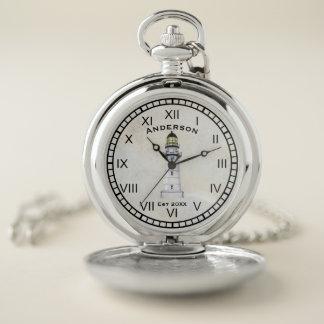 灯台航海のな壊中時計の灰色のグランジ ポケットウォッチ