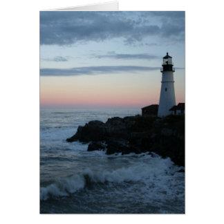 灯台、壮麗な日没! カード