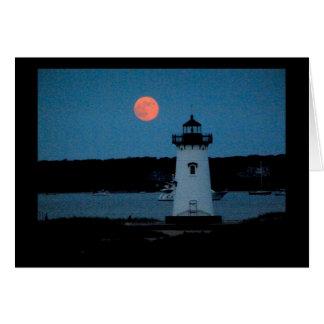 灯台Edgartownマーサのブドウ園の後ろの月 カード