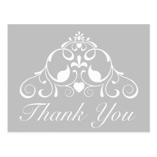 灰の灰色および白スクロールは感謝していしています ポストカード