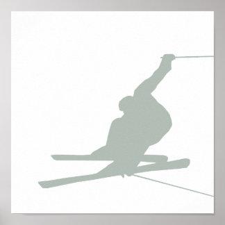 灰灰色の雪のスキー ポスター