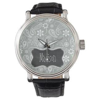 灰灰色; 灰色のペイズリー; レトロの黒板の一見 腕時計