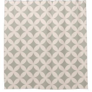 灰色およびクリーム色のGeocirclesパターンデザイン シャワーカーテン