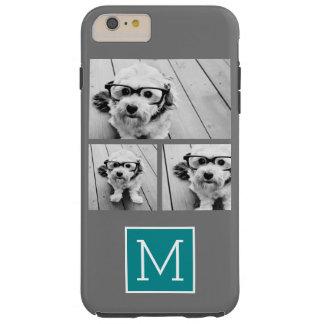 灰色およびティール(緑がかった色)のInstagramの写真のコラージュのモノグラム Tough iPhone 6 Plus ケース