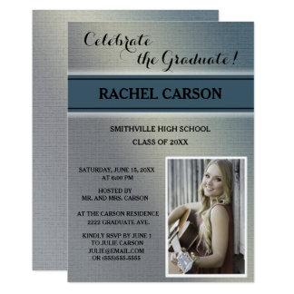 灰色およびティール(緑がかった色)のOmbreの写真の卒業の招待状 カード