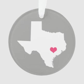 灰色およびピンクのハートのテキサス州の故郷の州 オーナメント