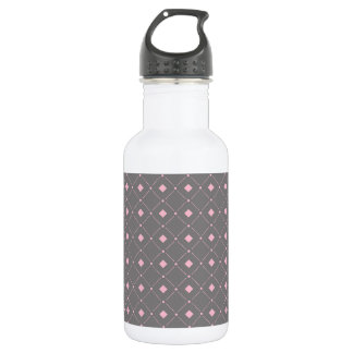 灰色およびピンクの正方形; ダイヤモンドパターン ウォーターボトル
