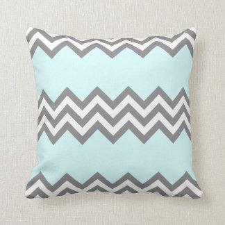灰色およびミントの三重のジグザグ形の枕 クッション