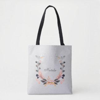 灰色およびモモの花のリース トートバッグ
