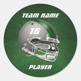 灰色および深緑色のフットボール用ヘルメット 丸型シール