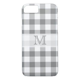 灰色および白いギンガムの点検のモノグラム iPhone 8/7ケース