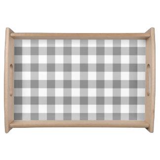 灰色および白いギンガムの点検パターン トレー