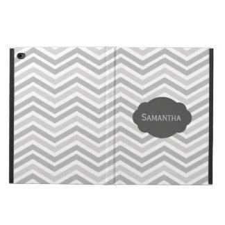 灰色および白いシェブロンによってカスタマイズiPadの箱 Powis iPad Air 2 ケース