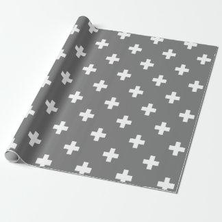 灰色および白いスイスの十字パターン 包装紙