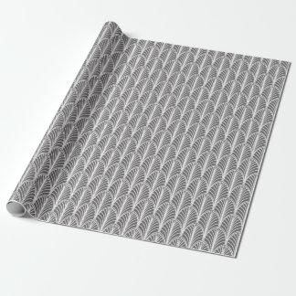 灰色および白いヴィンテージのDecoファンパターン ラッピングペーパー