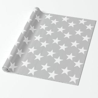 灰色および白い星のギフトの包装紙 ラッピングペーパー