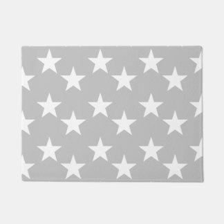 灰色および白い星のプリントの玄関マット ドアマット