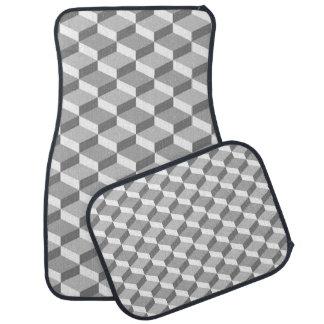灰色および白い目の錯覚の幾何学的な正方形 カーマット