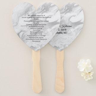 灰色および白によって大理石模様をつけられる結婚式プログラムファン ハンドファン