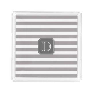 灰色および白のストライプなモノグラムの正方形のトレイ アクリルトレー