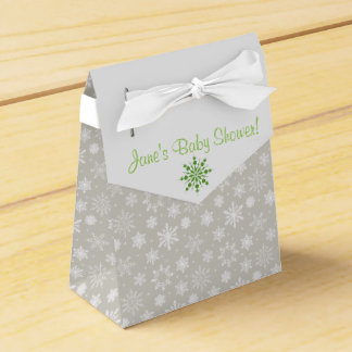 灰色および緑の雪片の好意箱 フェイバーボックス