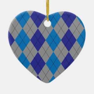 灰色および青のアーガイル柄のなオーナメント セラミックオーナメント