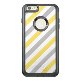 灰色および黄色の対角線のストライプなパターン オッターボックスiPhone 6/6S PLUSケース