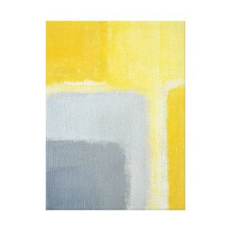 灰色および黄色の抽象美術を「インスパイア」 キャンバスプリント