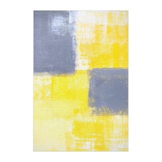 灰色および黄色の抽象美術を「恋しく思います」 アクリルウォールアート
