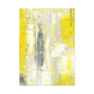 「」灰色および黄色の抽象美術心境の変化 キャンバスプリント