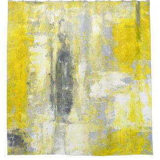 「」灰色および黄色の抽象美術心境の変化 シャワーカーテン